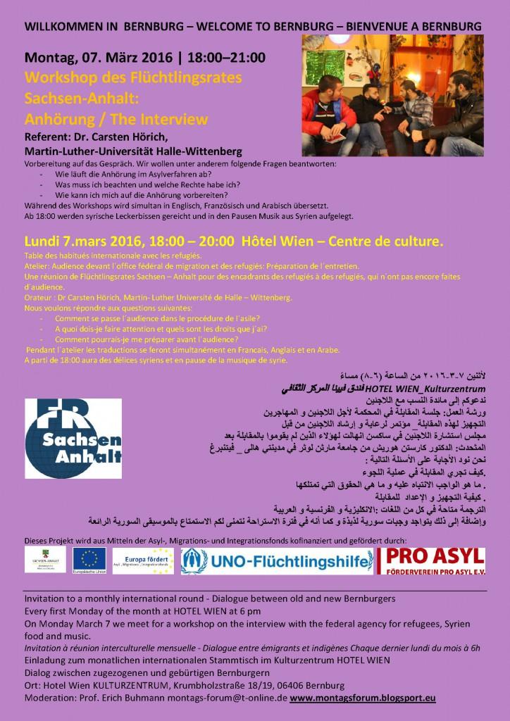 Ankündigung Workshop zur Anhörung des Flüchtlingsrates am 7.3.2016