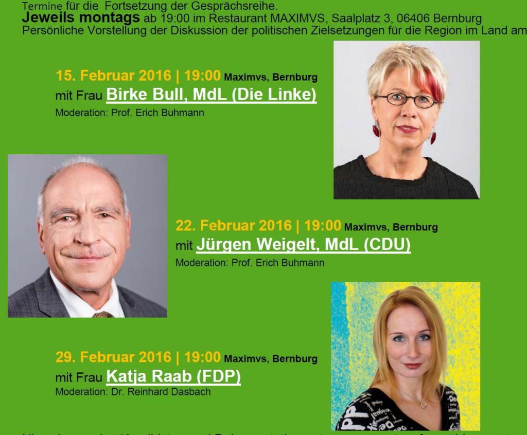 nach Dialog mit SPD, B'90/Die Grünen die Fortsetzung mit den Direktkandidatinnen bzw. Direktkandidaten Die LINKE, der CDU und der FDP